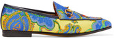 Gucci Jordaan Horsebit-detailed Jacquard Loafers - Blue