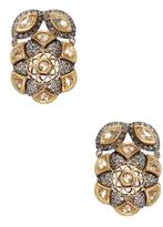 Artisan 18K Yellow Gold, Silver & 1.80 Total Ct. Diamond Floral Earrings