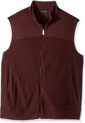 Perry Ellis Men's Big Cotton Blend Full Zip Texture Knit Vest