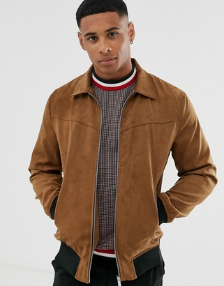ONLY & SONS faux suede jacket in brown