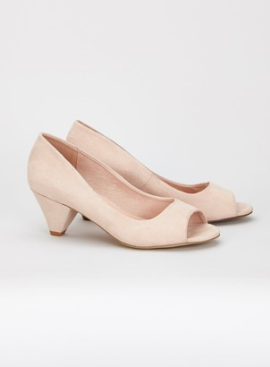 Evans EXTRA WIDE FIT Nude Peep Toe Cone Heel Court Shoes