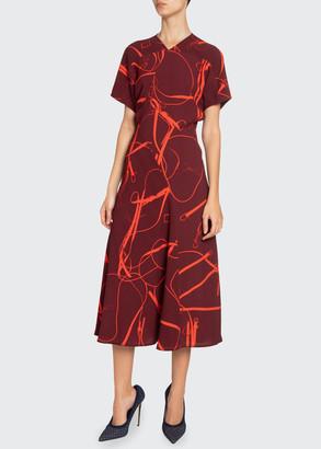 Victoria Beckham Paneled V-Neck Midi Dress