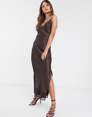 Vero Moda lace detail slip maxi dress in brown