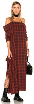R 13 for FWRD Exclusive Mini Apron Dress in Checkered & Plaid,Red.