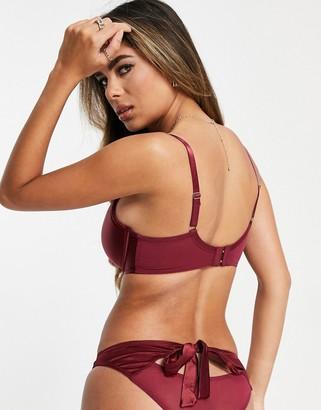 Pour Moi? Pour Moi Fuller Bust Encore sweetheart demi padded bra in burgundy