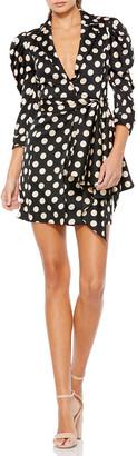 Mac Duggal Polka Dot Puff-Sleeve Faux-Wrap Mini Dress