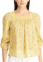 Chaps Petite Crinkle Smocked Blouse