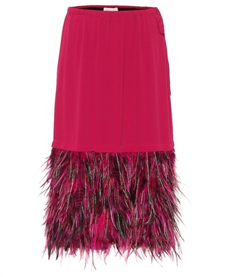 Dries Van Noten Feather hem midi skirt