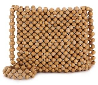 Crown Vintage Wood Beaded Crossbody Bag