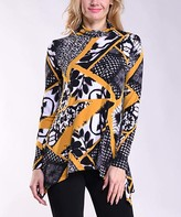 Lbisse Women's Tunics Black - Black & Gold Patchwork Mock Neck Sidetail Tunic - Women & Plus