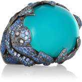 Lydia Courteille 18-karat Blackened White Gold Multi-stone Ring - Turquoise