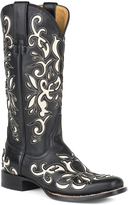 Stetson Black & White Destroyer Leather Cowboy Boot
