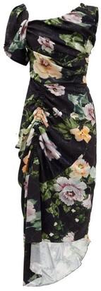 Preen by Thornton Bregazzi Willabelle Asymmetric Floral-print Dress - Womens - Black Multi