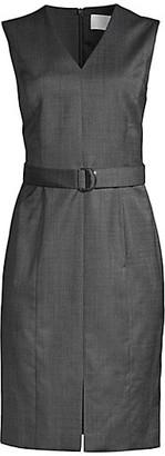 HUGO BOSS Decapolis Patterned Stretch Wool V-neck Shift Dress