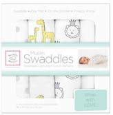 Swaddle Designs Cotton Muslin Swaddle Blankets - Jungle Friends - 4pk - Sterling Gray