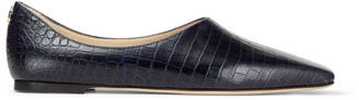 Jimmy Choo JOSELYN FLAT Navy Croc-Embossed Leather High-Cut Flats