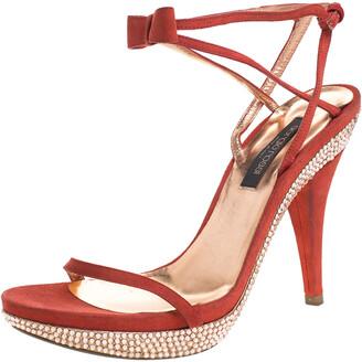 Sergio Rossi Red Suede Crystal Embellished Ankle Strap Platform Sandals Size 37