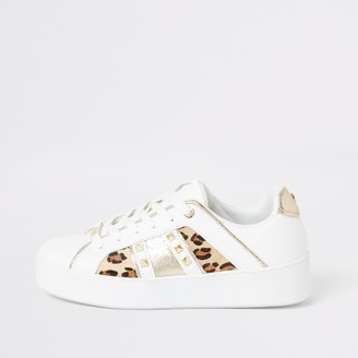 River Island Womens White leopard print studded side trainers