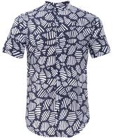 Slim Fit Collarless Short Sleeve Shirt