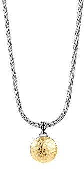 John Hardy Sterling Silver and 18K Gold Palu Round Pendant on Chain Necklace, 16