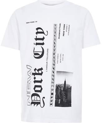 River Island Girls white 'New York' diamante T-shirt