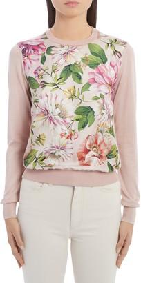Dolce & Gabbana Floral Silk Panel Sweater