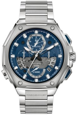 Bulova Men's Automatic Chronograph Precisionist X Stainless Steel Bracelet Watch 44.5mm