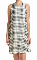 Calvin Klein White Women's Size 14 Crewneck Plaid Shift Dress
