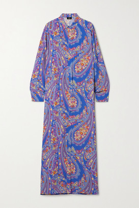 Etro Karabair Paisley-print Georgette Maxi Dress - Blue