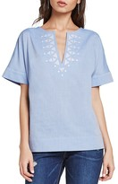 BCBGeneration Embroidered Short-Sleeve Top