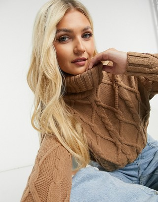 Hollister cable knit roll neck jumper in camel