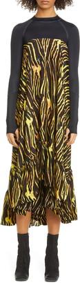 Marine Serre Salamander Print Long Sleeve Hybrid High/Low Dress