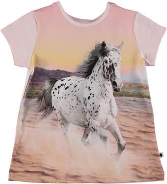 Molo Corina Running Horse Print Dress, Size 6-24 Months