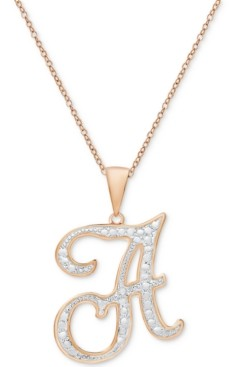 Macy's Diamond Accent Initial Pendant Necklace in Rose Gold-Plate