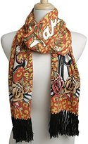 Ed Hardy Womens Panther Knit Scarf -Off White/Black