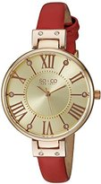 SO&CO New York Women's 5091.4 Slim Red Crystal Accent Leather Strap Watch