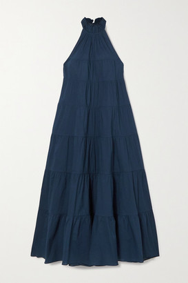 Rhode Resort Julia Tiered Cotton-voile Halterneck Maxi Dress - Navy