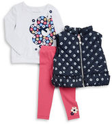 Flapdoodles Girls 2-6x Daisy Puff Vest, Graphic Top and Pants Set