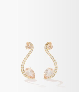 Anissa Kermiche Sissi Diamond, Morganite & 18kt Gold Earrings - Gold