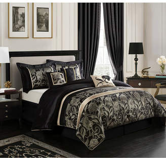 Mollybee 7-Piece Comforter Set, Black, King Bedding