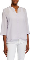Eileen Fisher Mandarin Collar 3/4-Sleeve Textured Silk Mesh Shirt