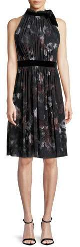Fuzzi Plum Floral-Print Tulle Halter Dress