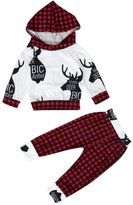 Susenstone 1Set Newborn Infant Baby Deer Grid Hoodie Tops+Pants Outfits Clothes