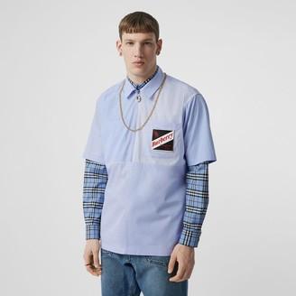 Burberry Short-sleeve Logo Graphic Patchwork Cotton Shirt