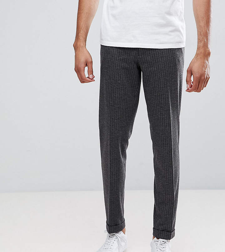 Asos Design Tall Skinny Crop Smart Trousers In Charcoal Pinstripe With Turnup