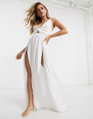ASOS DESIGN tie back beach maxi dress with twist front detail in white