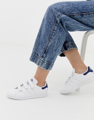 adidas white and navy Stan Smith CF trainers