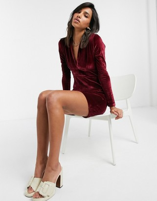 Vesper v-neck velvet mini dress with long sleeves in wine