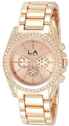 LA Time Womens Analogue Quartz Watch with Stainless Steel Gold Plated Strap 041L