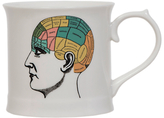 Magpie Curios Phrenology Mug, White/Multi, 378ml